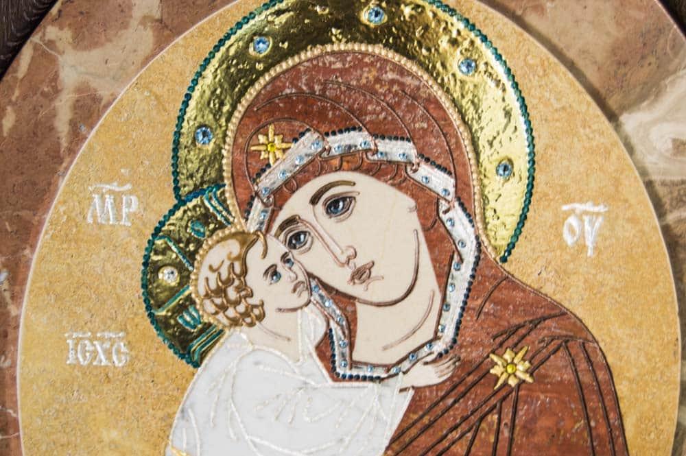 Икона Жировицкой Божьей Матери из итальянского камня от Гливи