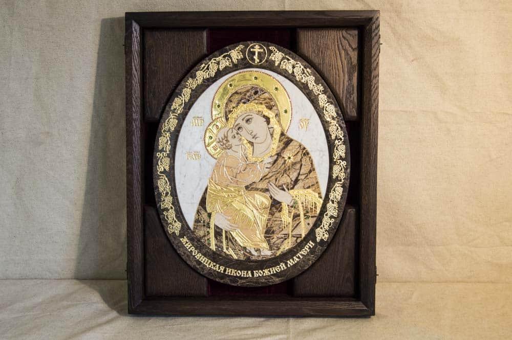 Икона из камня. Жировичская Богоматерь.