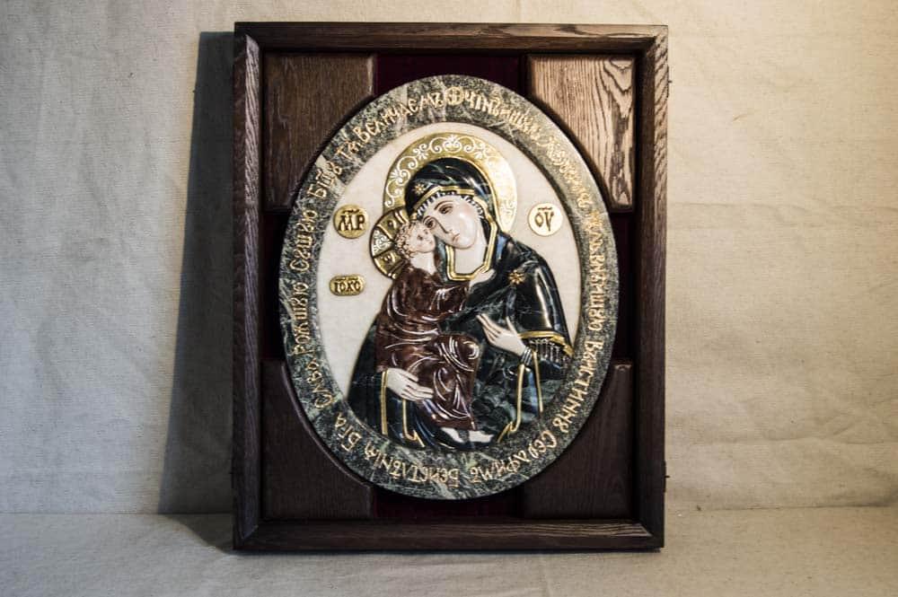 Икона Жировицкой Божьей Матери из мрамор, от Гливи