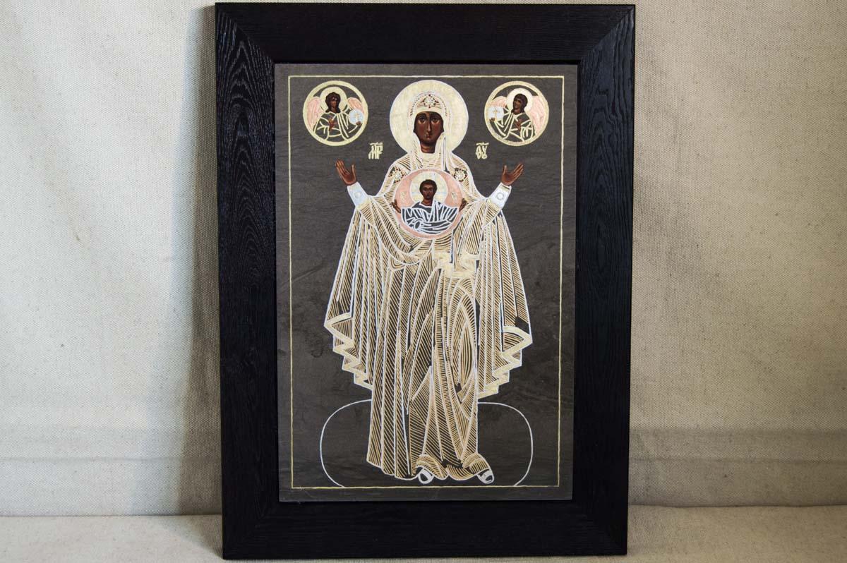 Икона Божией Матери Оранта из мрамора, знамение, интернет магазин икон Гливи