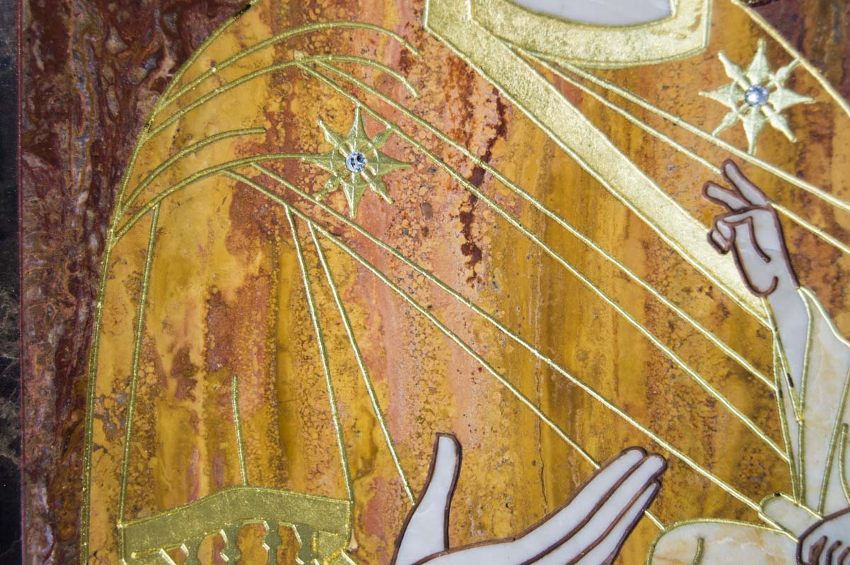 Икона Тихвиснкой Божьей Матери из мрамора, Каталог икон из камня Гливи