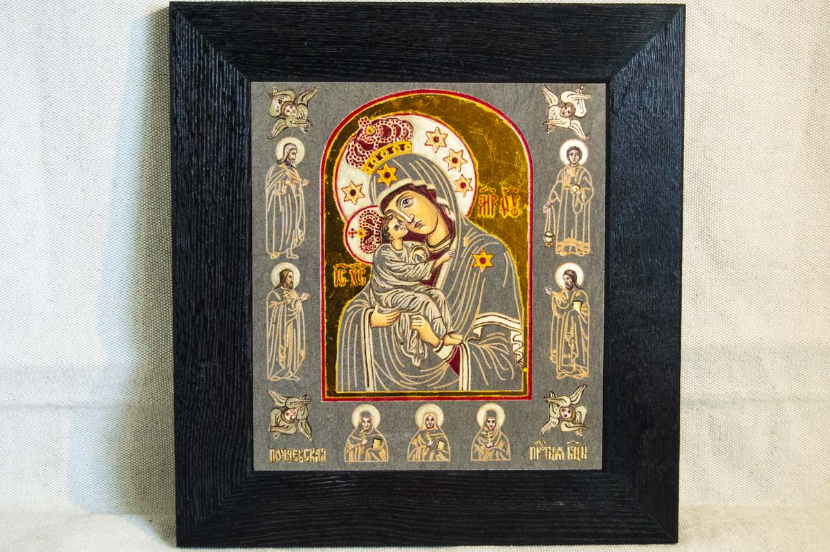 Икона Почаевской Богородицы из камня от Гливи. Магазин икон.
