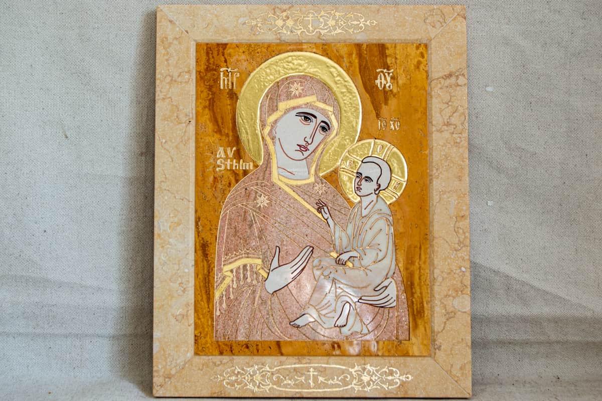 Икона Стокгольмской (Тихвинской) Богородицы. Каталог икон интернет магазин икон из мрамора Гливи