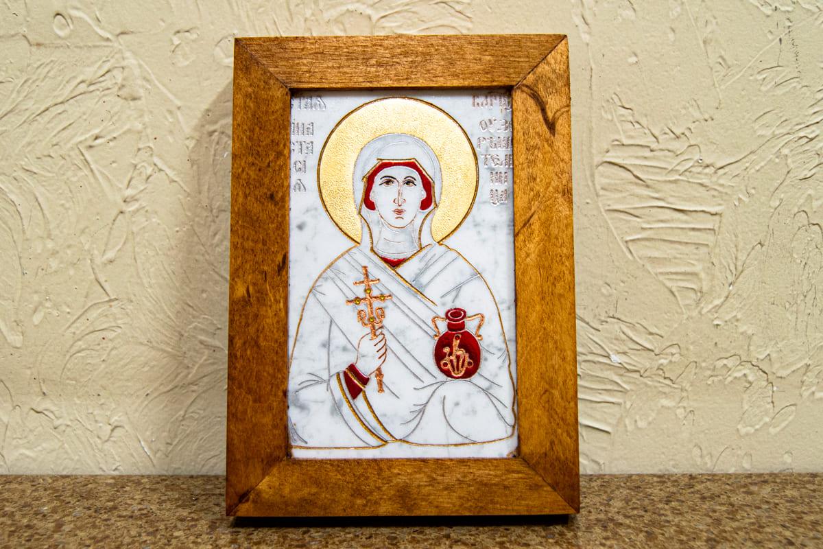 Икона Казанской Богоматери № 1_25-4 (резная) от Гливи, выполнена из мрамора