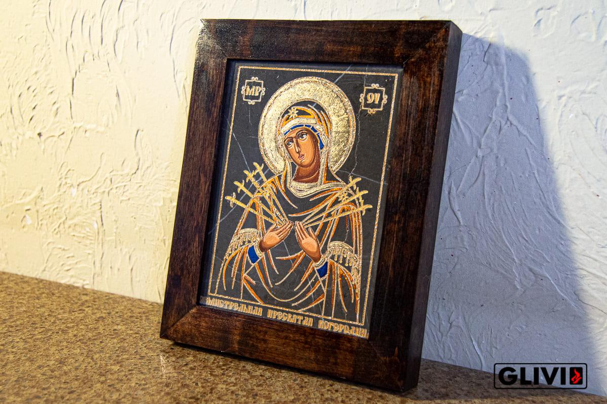 Икона Божией Матери Семистрельной (Умягчение Злых Сердец) из камня от Гливи, изображение, фото 6