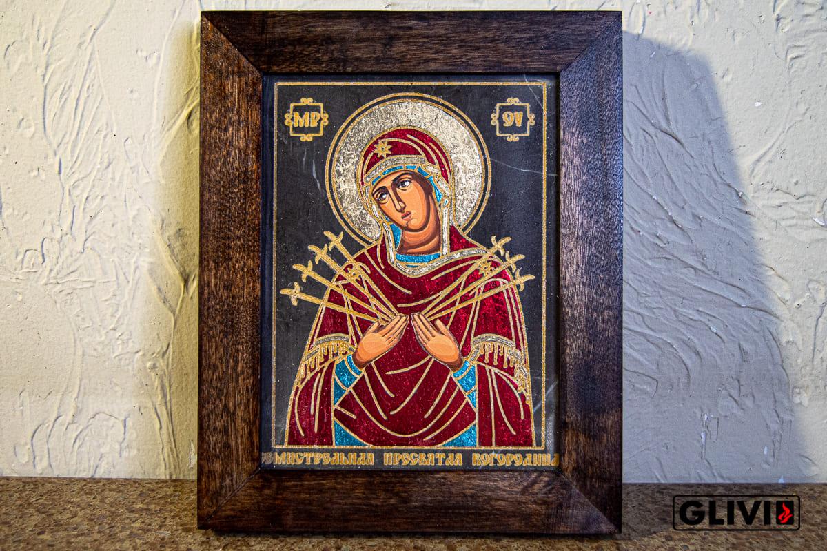Икона Божией Матери Семистрельной (Умягчение Злых Сердец) из камня от Гливи, изображение, фото 1