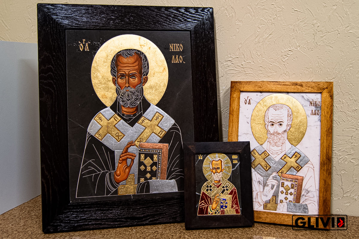 Икона Святого Николая Чудотворца из камня от Гливи, фото сделано в салоне Гливи в Минске, изображение 6