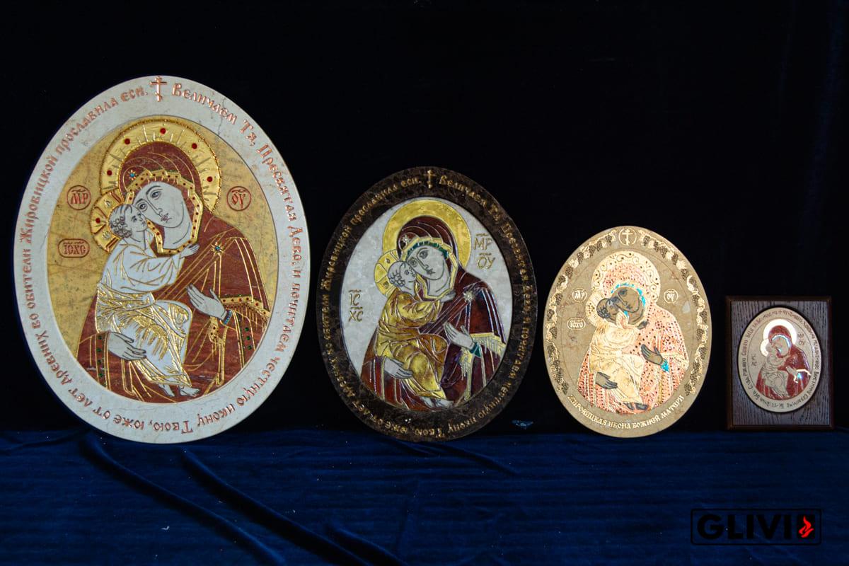 Жирочиская Икона Божьей Матери из мрамора от Гливи, фото сделано в салоне Гливи в Минске, изображение 7