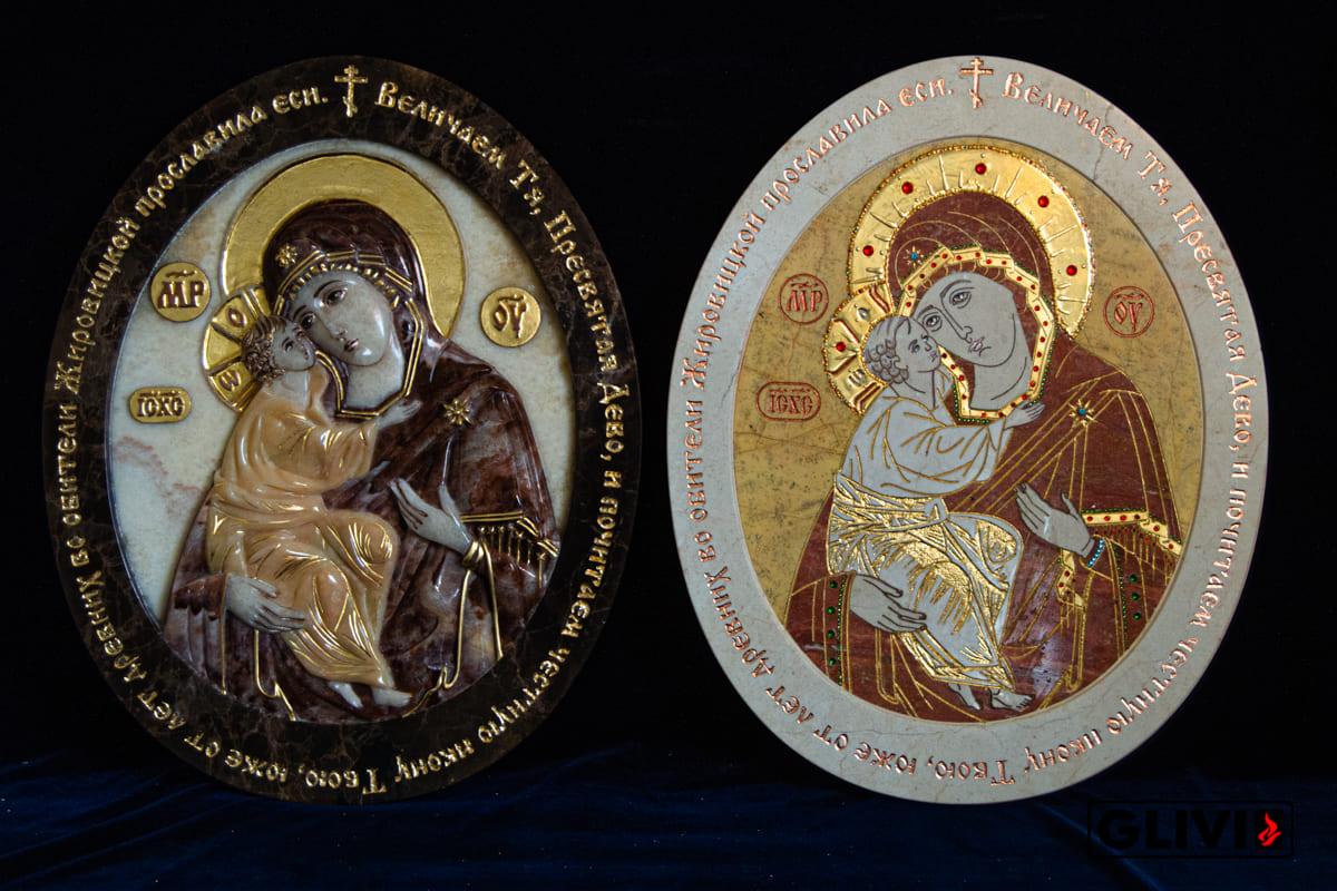 Жирочиская Икона Божьей Матери из мрамора от Гливи, фото сделано в салоне Гливи в Минске, изображение 2