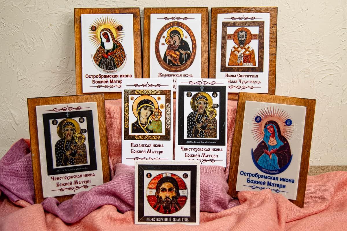 Малые паломнические иконы обереги из мрамора от Гливи. Фото 3.