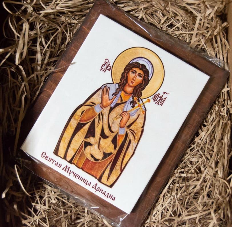 Икона Святой Ариадны Сувенирная на мраморе, изображение, фото 4