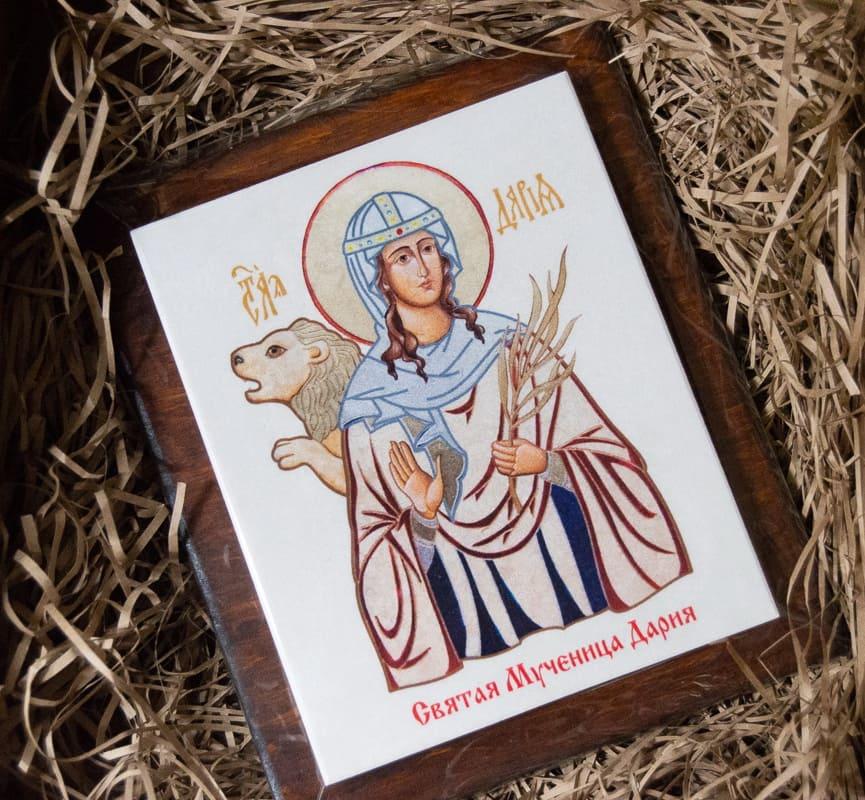 Икона Святой мученица Дарии Римской на мраморе, сувенирная, изображение, фото 4