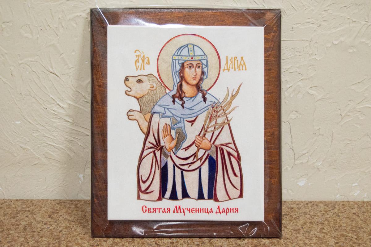 Икона Святой мученица Дарии Римской на мраморе, сувенирная, изображение, фото 1