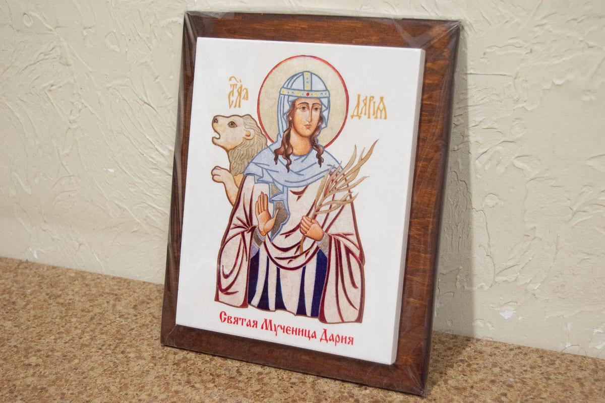 Икона Святой мученица Дарии Римской на мраморе, сувенирная, изображение, фото 2
