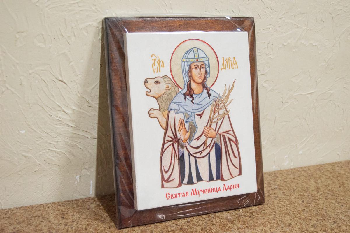 Икона Святой мученица Дарии Римской на мраморе, сувенирная, изображение, фото 3