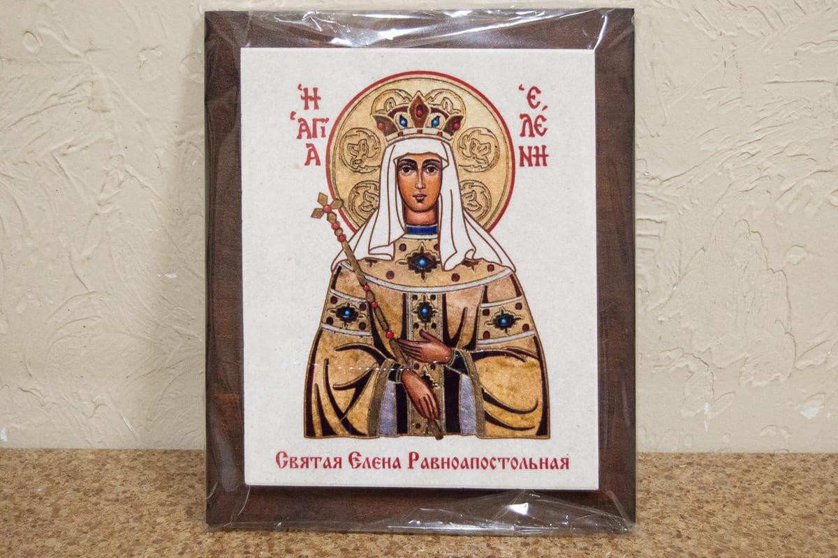 Икона Святой Елены Равноапостольной на мраморе, сувенирная, изображение, фото 1