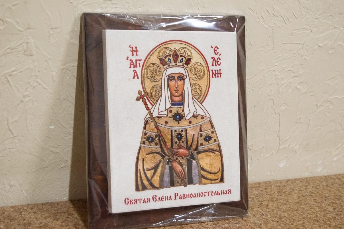 Икона Святой Елены Равноапостольной на мраморе, сувенирная, изображение, фото 2