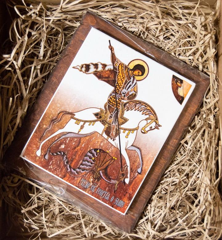 Икона Святого Георгия Победоносца на мраморе, сувенир, изображение, фото 1