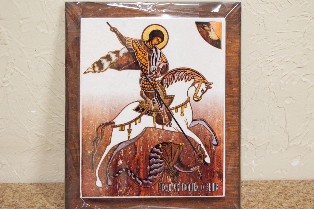 Икона Святого Георгия Победоносца на мраморе, сувенир, изображение, фото 3