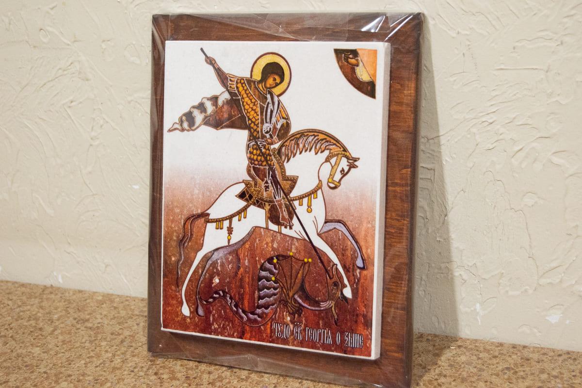 Икона Святого Георгия Победоносца на мраморе, сувенир, изображение, фото 4