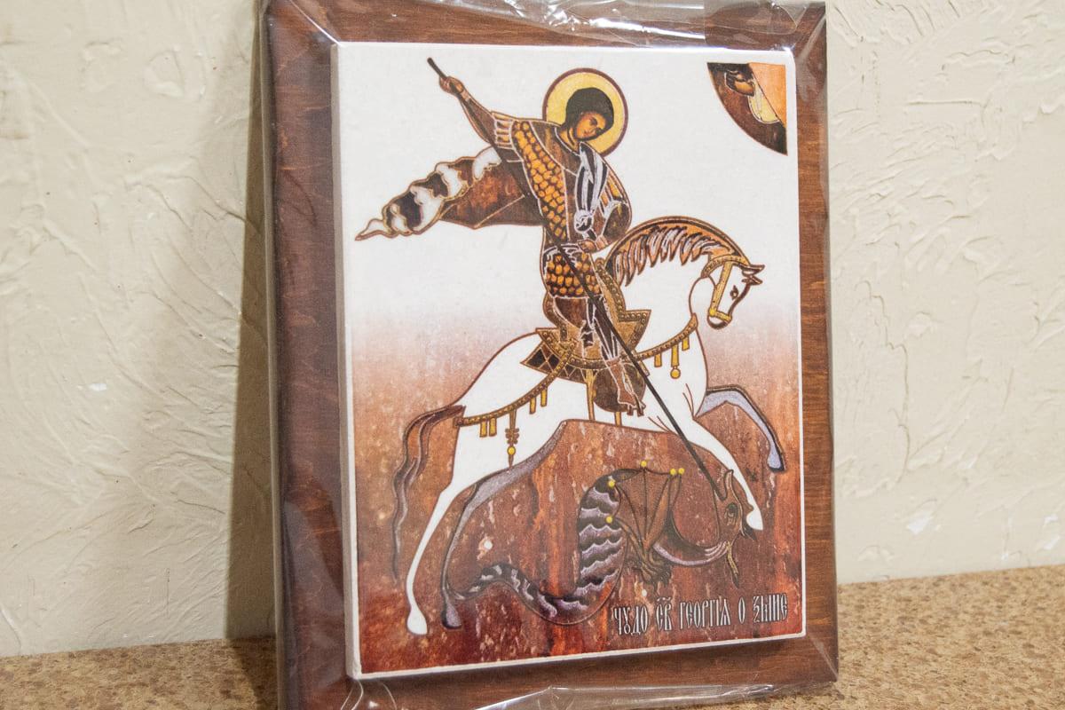 Икона Святого Георгия Победоносца на мраморе, сувенир, изображение, фото 2