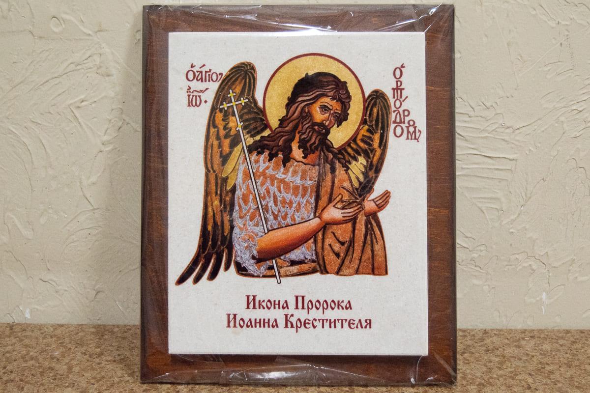 Икона Святого Иоанна Крестителя на мраморе, сувенирная, изображение, фото 1