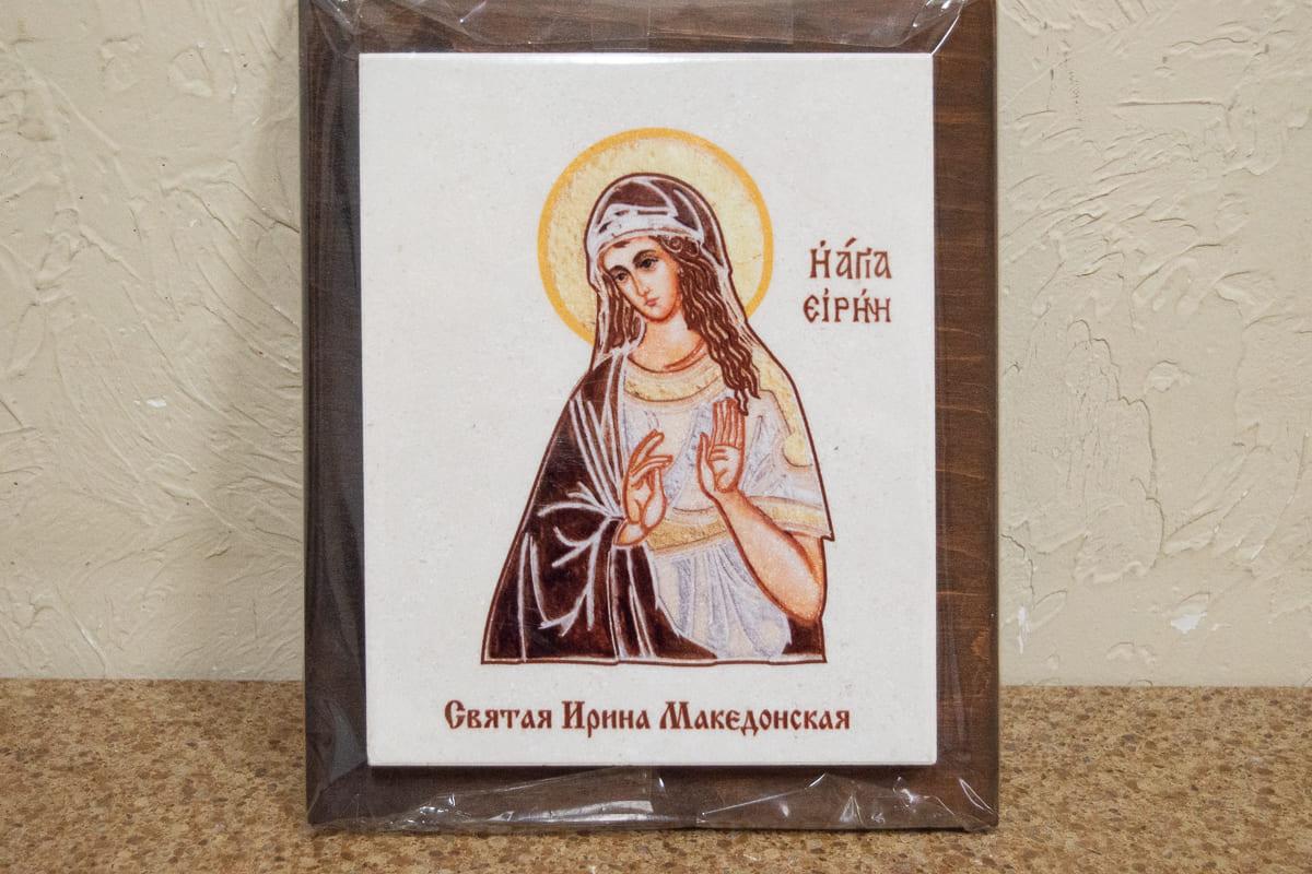 Икона Святой Ирины Македонской на мраморе, сувенирная, изображение, фото 1