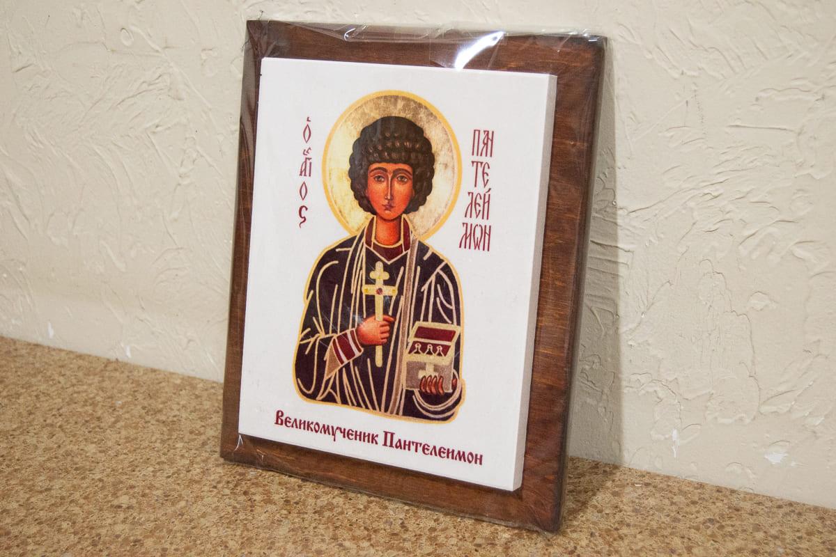 Икона Святого Пантелеймона Целителя на мраморе, сувенирная, изображение, фото 3