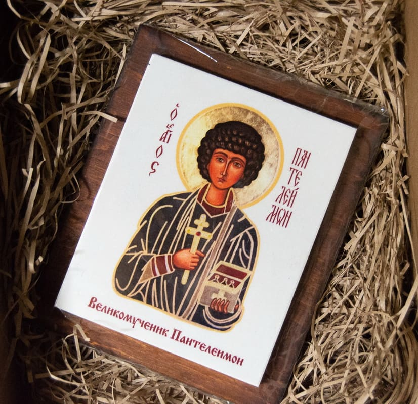 Икона Святого Пантелеймона Целителя на мраморе, сувенирная, изображение, фото 4